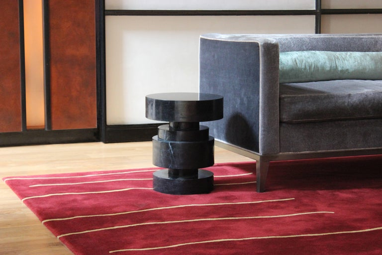 Modern Mogador Solid Marble Side Table For Sale