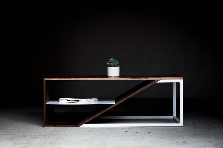 American The Cortado, Modern Walnut and Powder Coated Steel Coffee Table For Sale