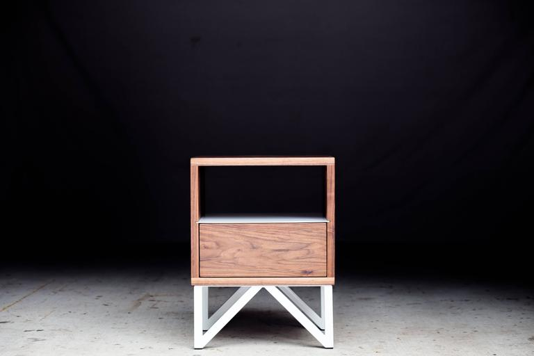 American The Truss, Modern Walnut and Powder Coated Steel Side Table For Sale