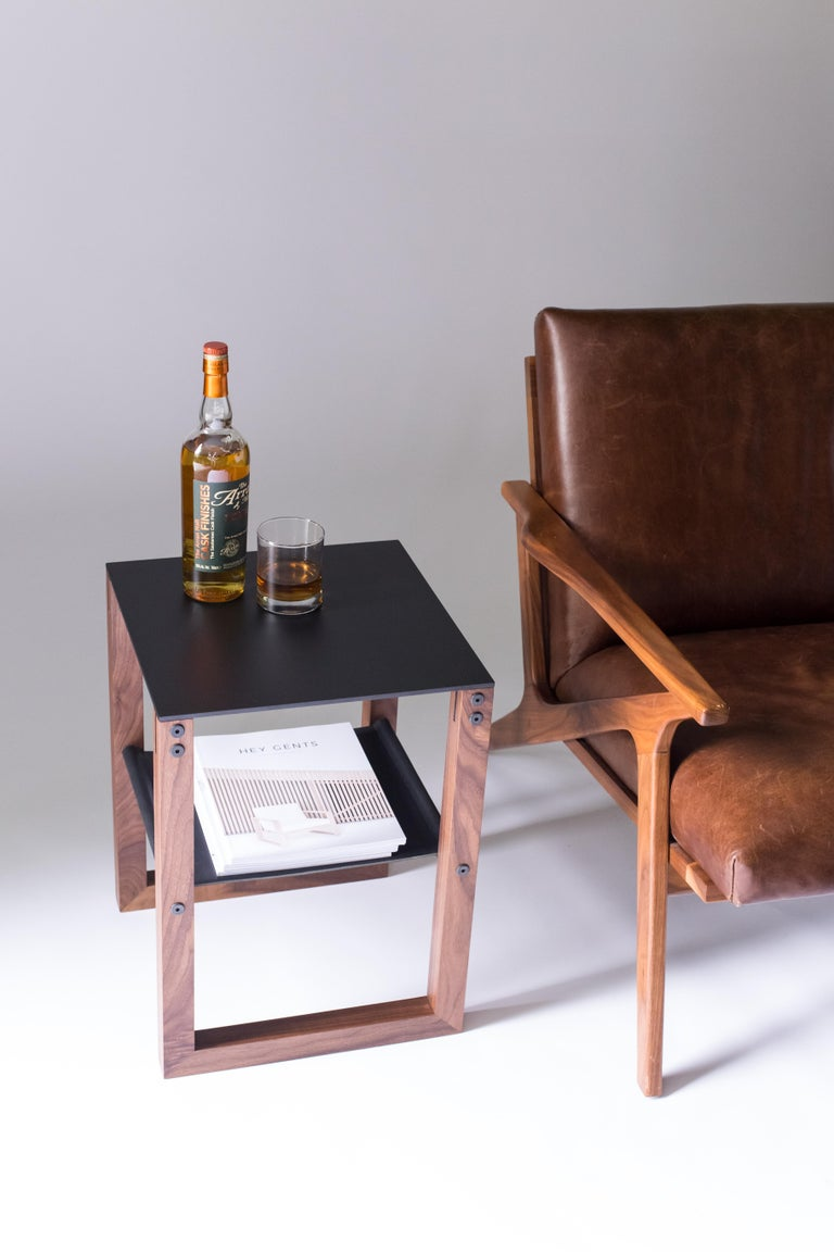 Sling - Modern Aluminum, Leather and Walnut Side Table  For Sale 1