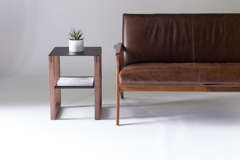 Sling - Modern Aluminum, Leather and Walnut Side Table  For Sale 2