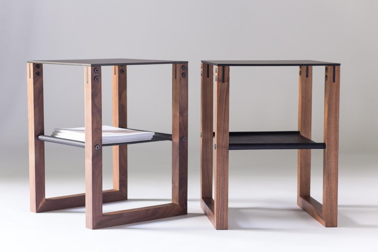 Contemporary Sling - Modern Aluminum, Leather and Walnut Side Table  For Sale