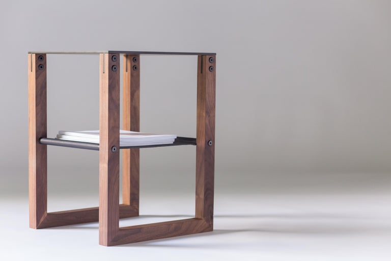 Sling - Modern Aluminum, Leather and Walnut Side Table  In New Condition For Sale In West Linn, OR