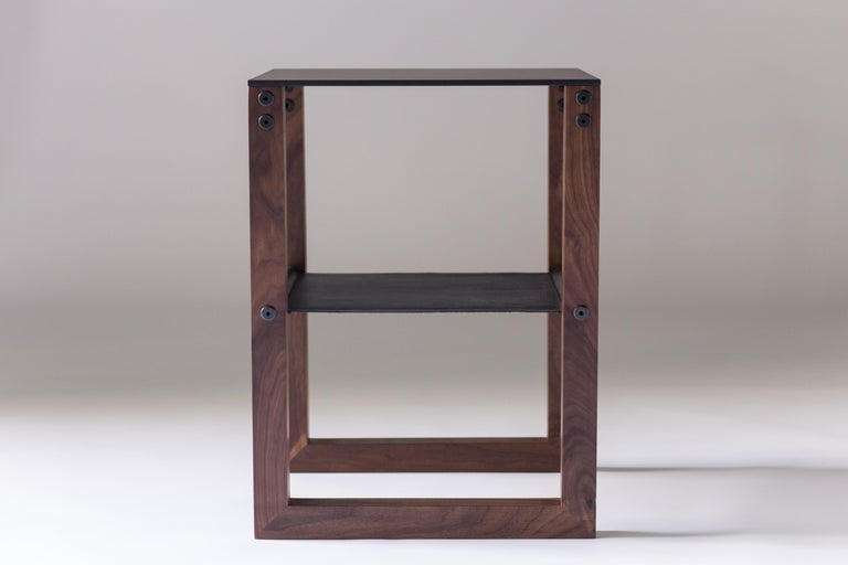 Blackened Sling - Modern Aluminum, Leather and Walnut Side Table  For Sale