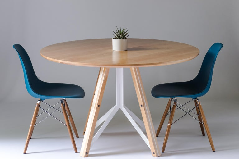 Trestle, Modern Birch and Powder Coated Steel Round Dining Table For Sale 2