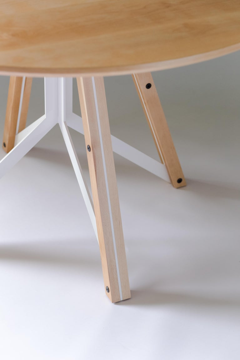 Welded Trestle, Modern Birch and Powder Coated Steel Round Dining Table For Sale