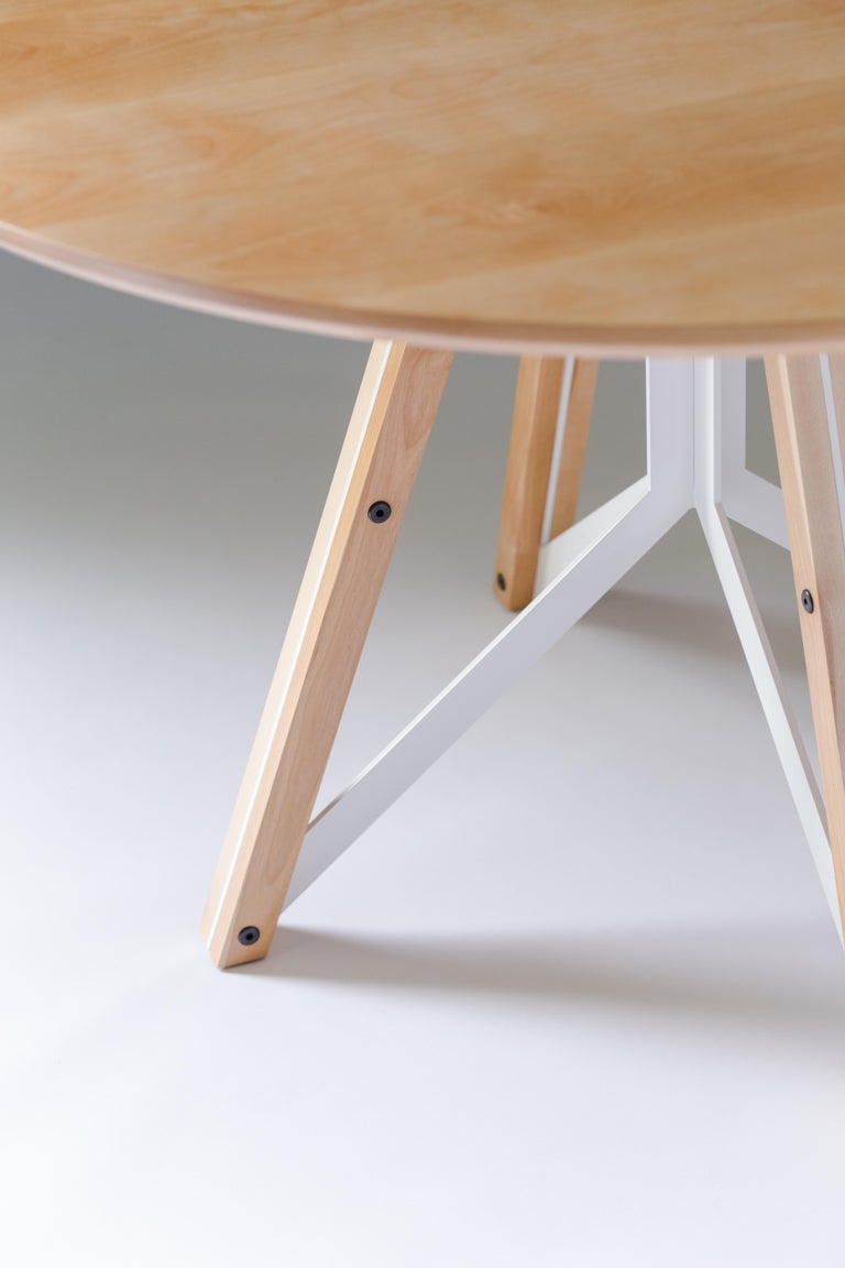 Trestle, Modern Birch and Powder Coated Steel Round Dining Table For Sale 1