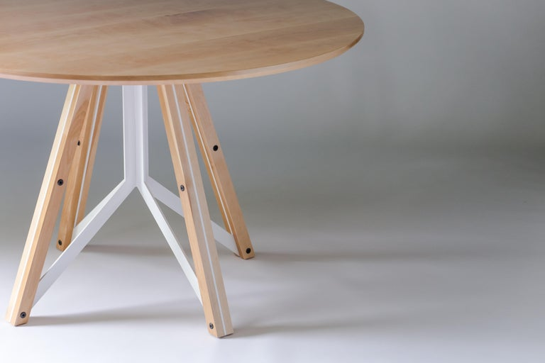 Contemporary Trestle, Modern Birch and Powder Coated Steel Round Dining Table For Sale