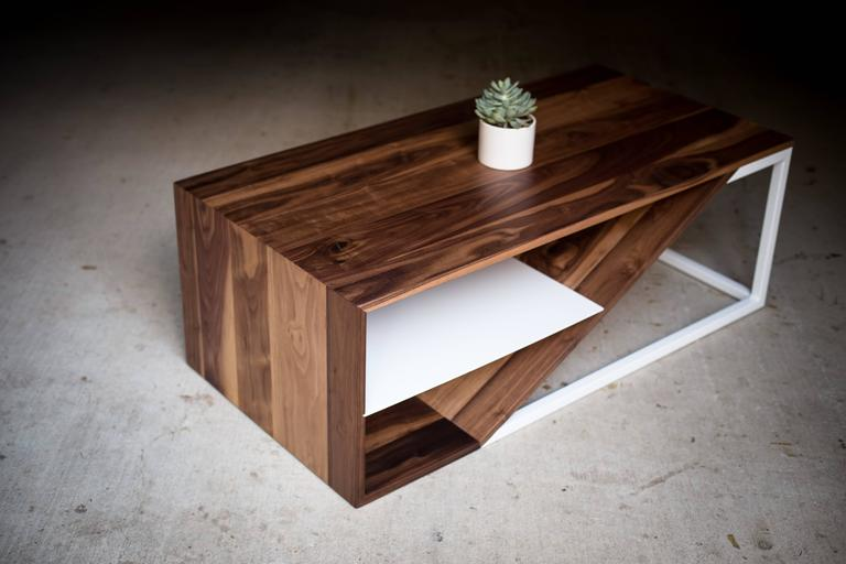 Contemporary The Cortado, Modern Walnut and Powder Coated Steel Coffee Table For Sale