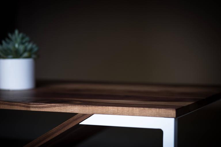 Metal The Cortado, Modern Walnut and Powder Coated Steel Coffee Table For Sale