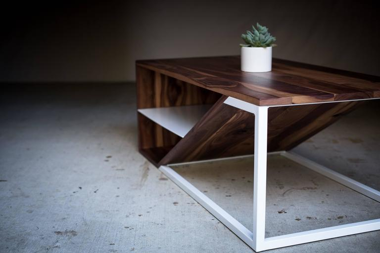 The Cortado, Modern Walnut and Powder Coated Steel Coffee Table For Sale 1