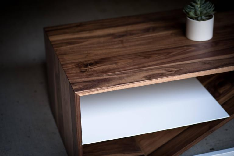 The Cortado, Modern Walnut and Powder Coated Steel Coffee Table For Sale 2