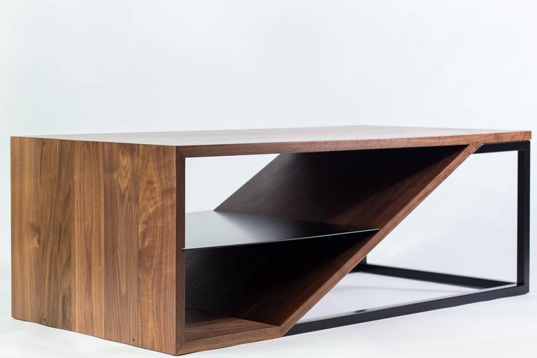 Powder-Coated The Cortado, Modern Walnut and Powder Coated Steel Coffee Table For Sale