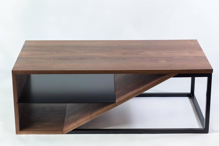 The Cortado, Modern Walnut and Powder Coated Steel Coffee Table In New Condition For Sale In West Linn, OR