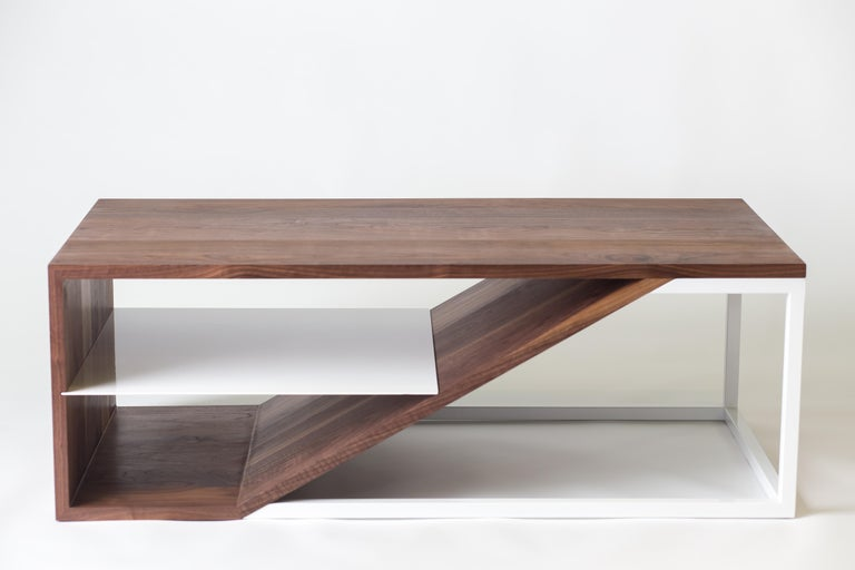 The Cortado, Modern Walnut and Powder Coated Steel Coffee Table For Sale 3