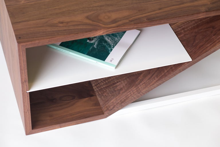 The Cortado, Modern Walnut and Powder Coated Steel Coffee Table For Sale 4