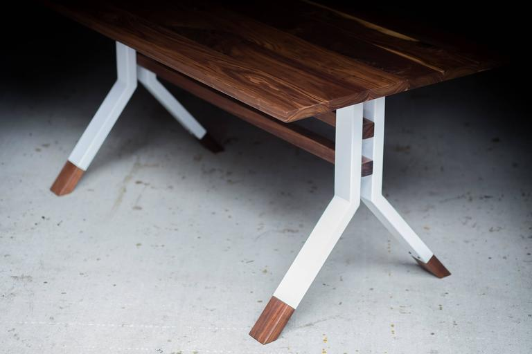 Powder-Coated The Ladder Back, Modern Walnut and Powder Coated Steel Dining Table For Sale
