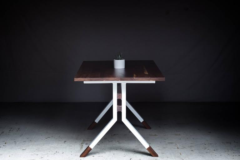 The Ladder Back, Modern Walnut and Powder Coated Steel Dining Table For Sale 3