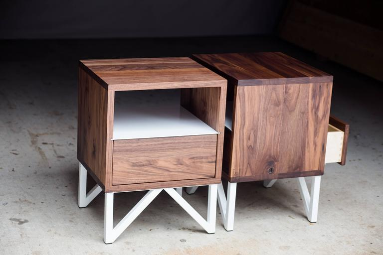 The Truss, Modern Walnut and Powder Coated Steel Side Table For Sale 3