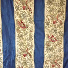 Exotic Birds Blue Stripe Large Single Curtain French Napoleon III Indienne