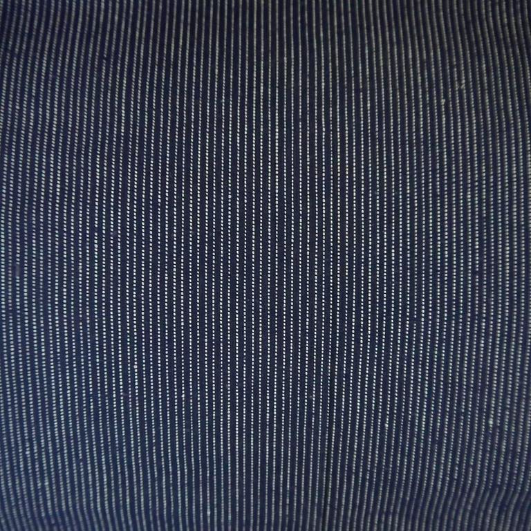 Antique French Roll Of Unused Woven Dark Indigo Striped
