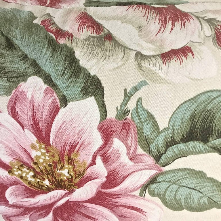 Country 1950s-1960s Vintage English Large-Scale Print Magnolia Cotton Tasseled Pillow For Sale