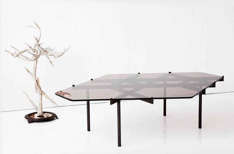 Lawson Coffee Table, Bronze Glass and Blackened Stainless Steel 4