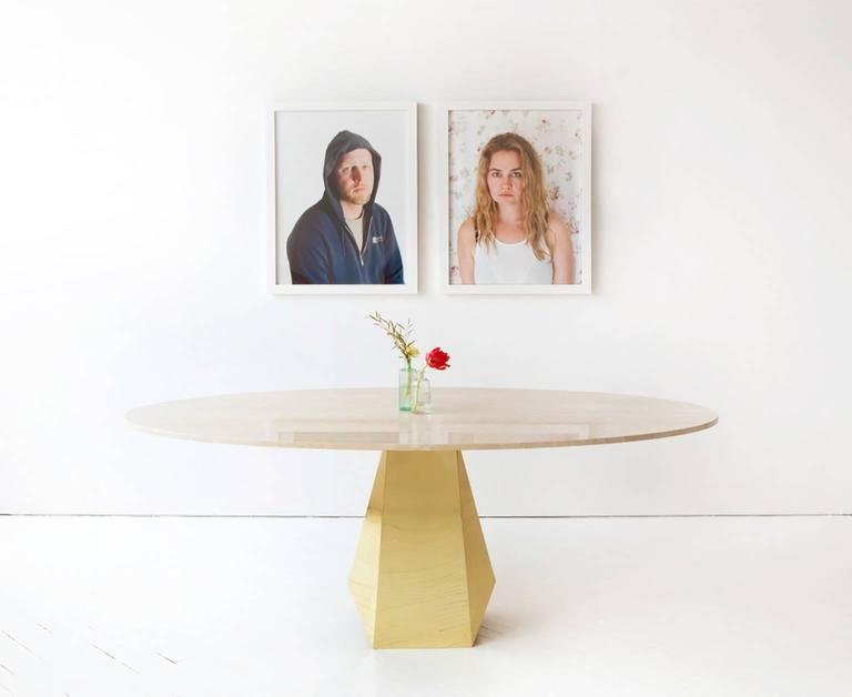 Oscar Dining Table, Brass and Stone In New Condition For Sale In New York, NY