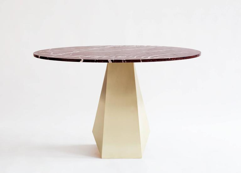 Contemporary Oscar Dining Table, Brass and Stone For Sale