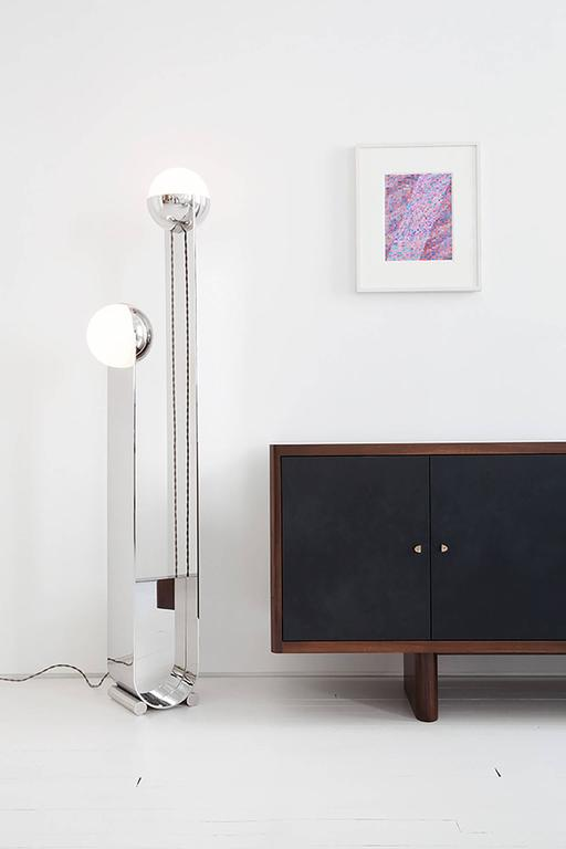 American Pete & Nora Floor Lamp, Polished Stainless Steel and Handblown Glass For Sale