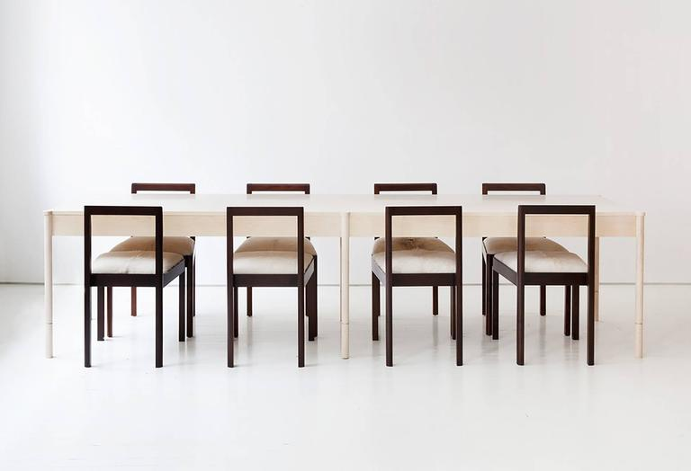 The Russell Dining Table is handcrafted and made-to-order in our Brooklyn studio. It is constructed of solid wood, and pictured above in bleached maple.