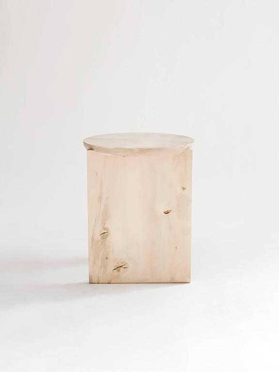 Hand-Crafted Wu Side Table or Stool, Solid Wood For Sale