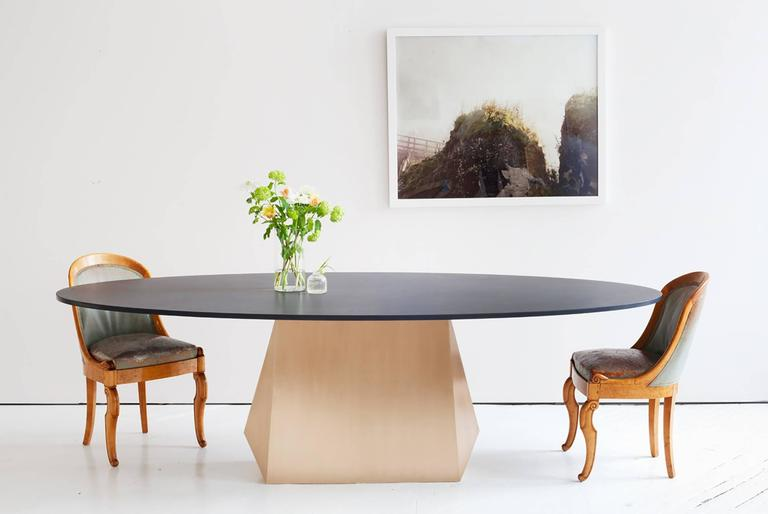 American Henry Dining Table, Bronze and Stone For Sale