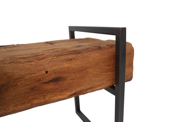 American Modern Modern Minimal Beam Bench Reclaimed Structural Oak Beams Welded Steel Frame For Sale