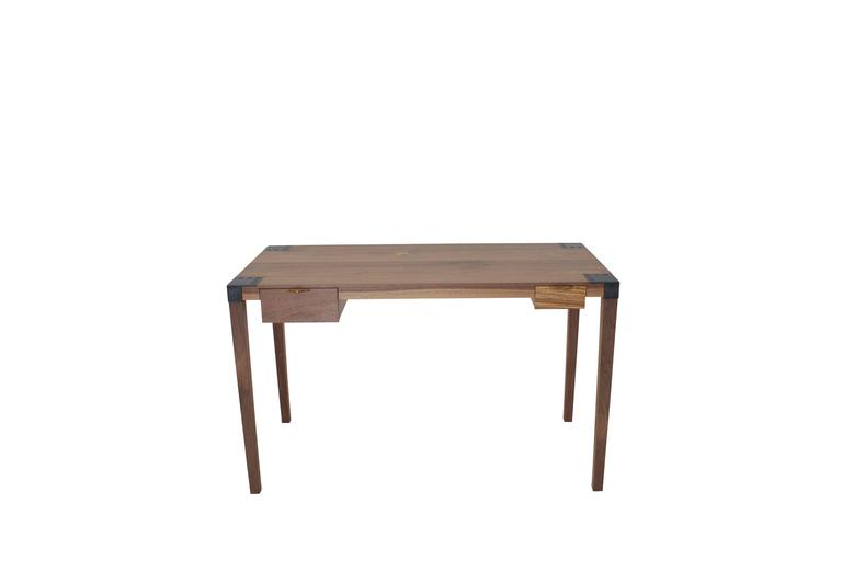 American Modern Solid Wood Writer's Desk Maple or Walnut with Steel Joinery and Removable Legs For Sale