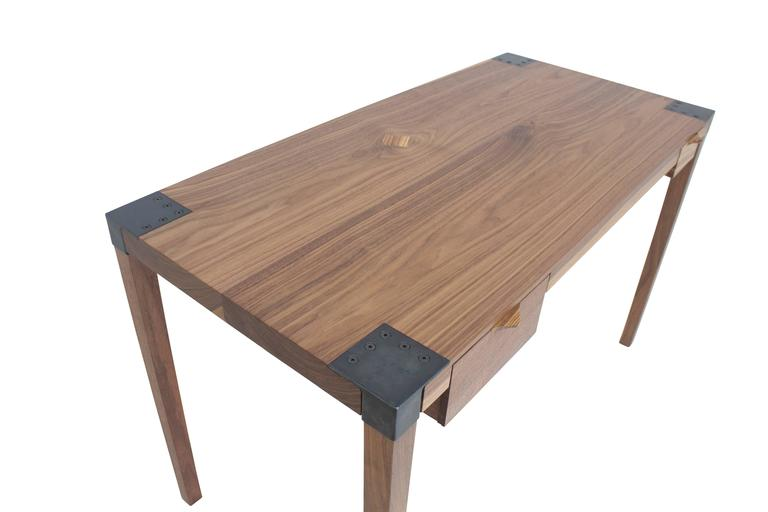 American Solid Wood Writer's Desk Maple or Walnut with Steel Joinery and Removable Legs For Sale