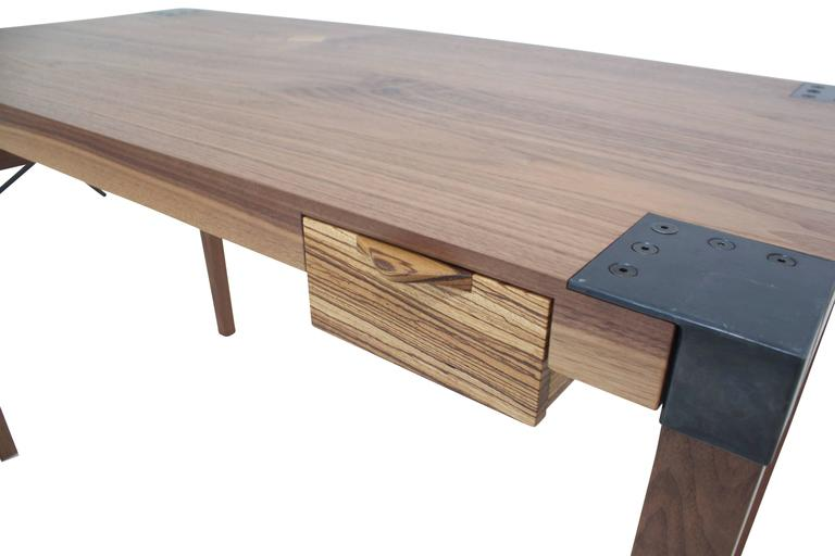 Blackened Solid Wood Writer's Desk Maple or Walnut with Steel Joinery and Removable Legs For Sale