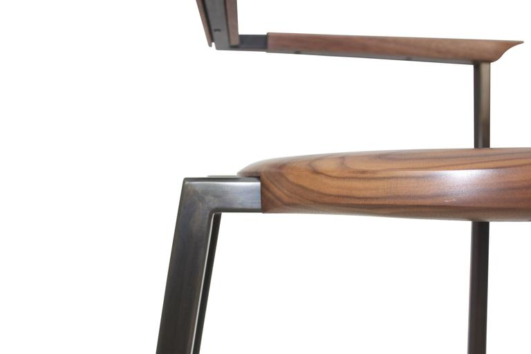 "Blackened Steel, Solid Wood ""Steel Chair"" Hand-Shaped, Walnut, Charred Ash 4"