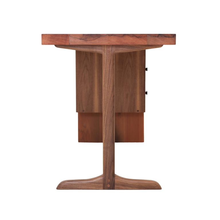 Mid-Century Modern Desk from NYC Reclaimed Water Tower Wood, Drawers with Hand Turned Ebony Pulls For Sale