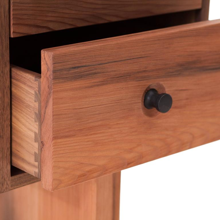 Desk from NYC Reclaimed Water Tower Wood, Drawers with Hand Turned Ebony Pulls In New Condition For Sale In Brooklyn, NY