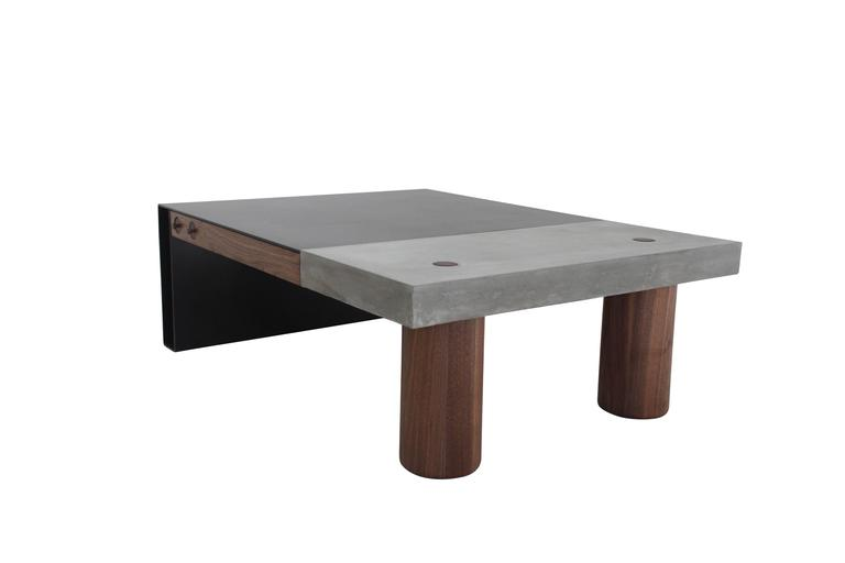 "Cast Concrete, Hand-Blackened Steel and Walnut ""Paradigm Coffee Table"" 4"