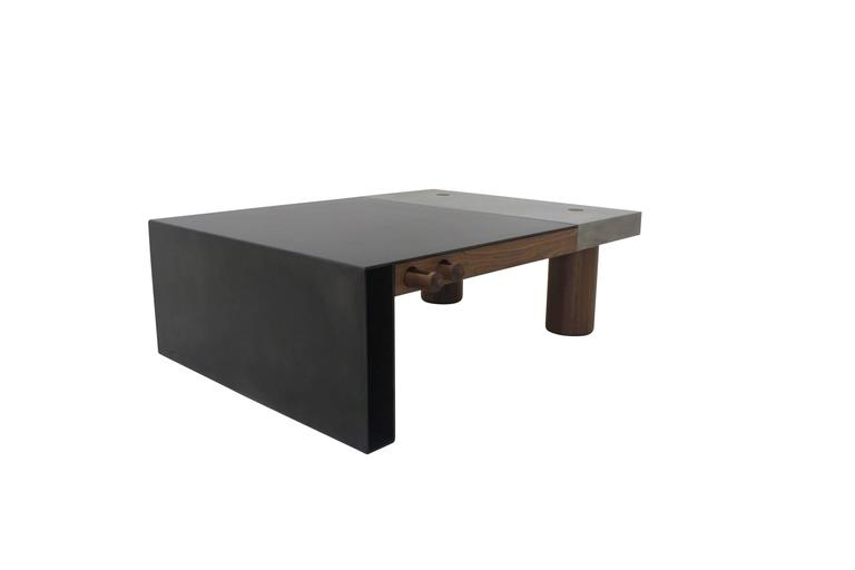 "Cast Concrete, Hand-Blackened Steel and Walnut ""Paradigm Coffee Table"" 2"