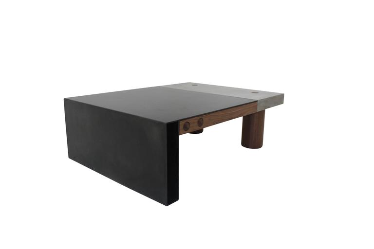 "Cast Concrete, Hand-Blackened Steel and Walnut ""Paradigm Coffee Table"" 3"