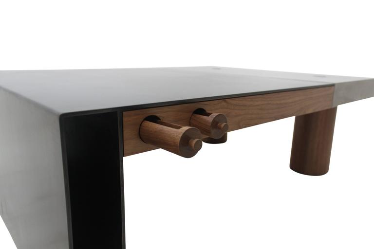 "Cast Concrete, Hand-Blackened Steel and Walnut ""Paradigm Coffee Table"" 7"