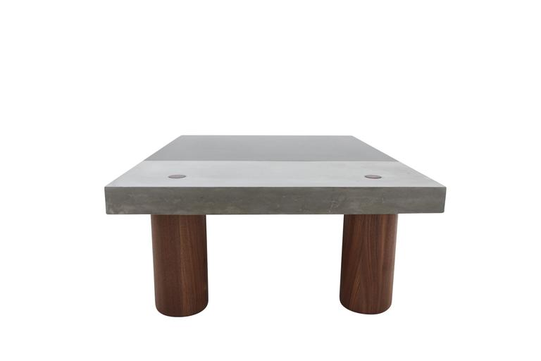 "Cast Concrete, Hand-Blackened Steel and Walnut ""Paradigm Coffee Table"" 9"