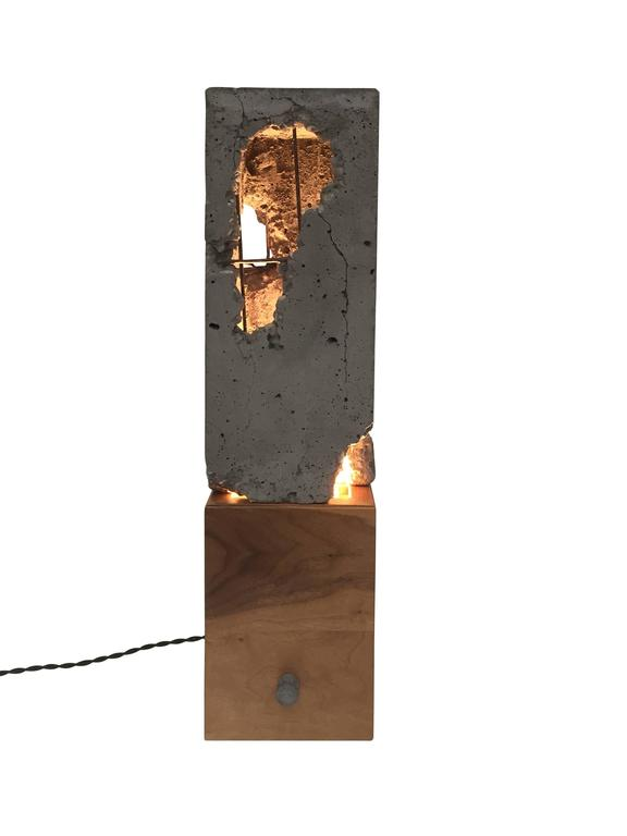 "Fractured Cast-Concrete ""Scarpa Light"" Solid Walnut or Blackened Steel Base 2"