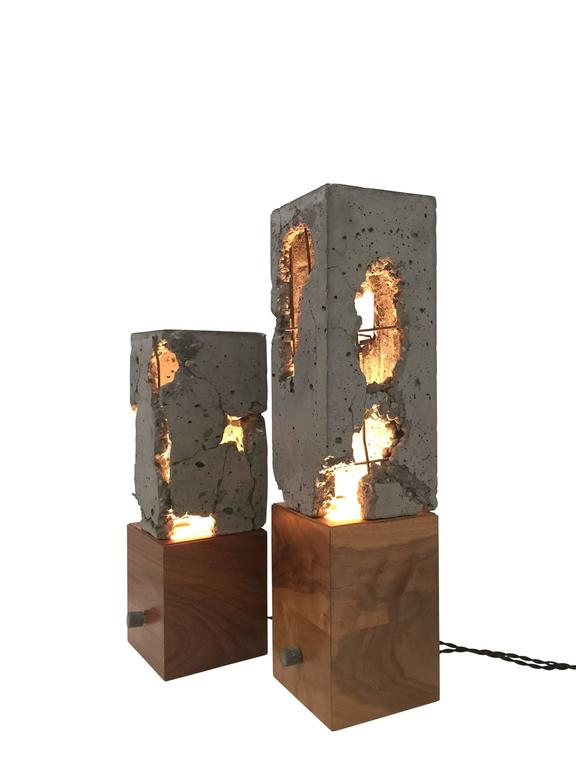 "Fractured Cast-Concrete ""Scarpa Light"" Solid Walnut or Blackened Steel Base 4"
