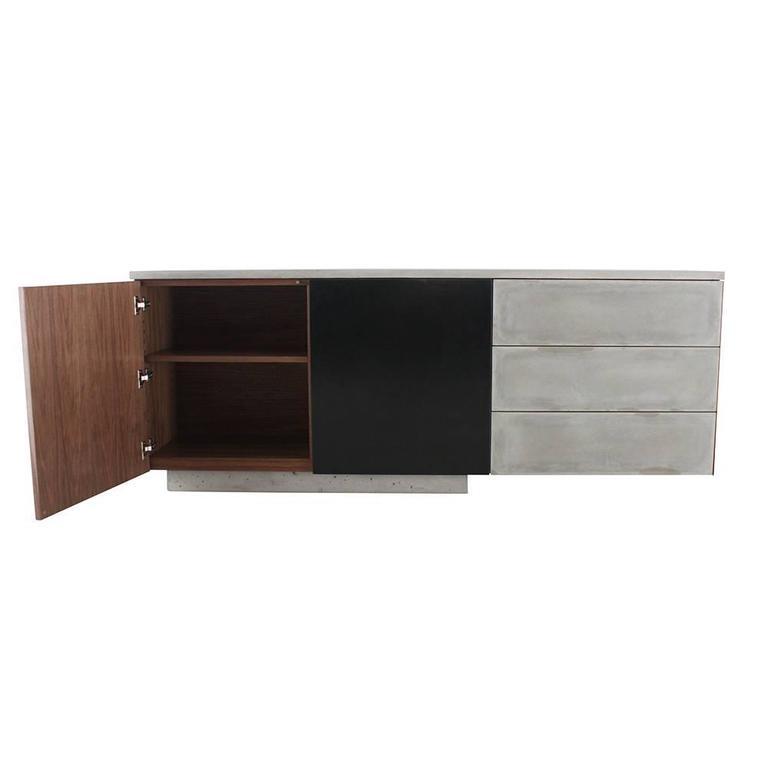 "Solid Walnut, Blackened Steel and Cast Concrete ""C-210"" Cantilevered Credenza 6"