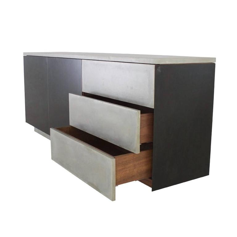 "Solid Walnut, Blackened Steel and Cast Concrete ""C-210"" Cantilevered Credenza 5"