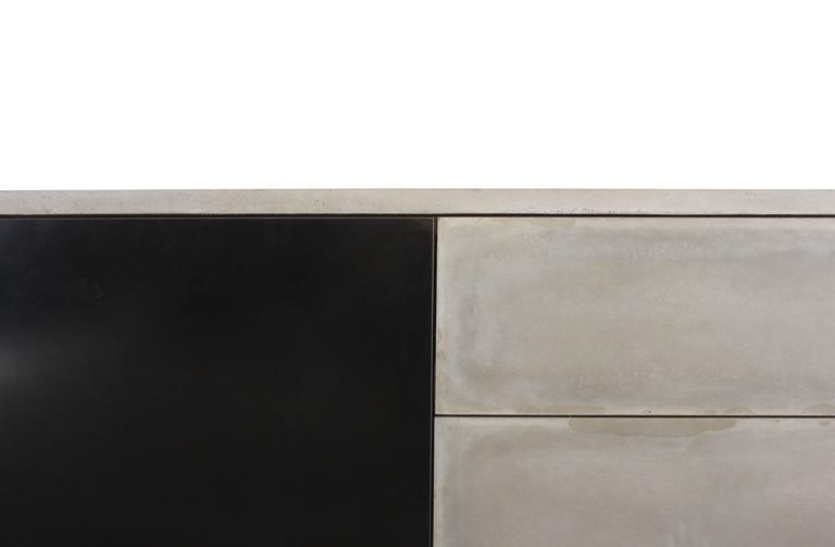 "Solid Walnut, Blackened Steel and Cast Concrete ""C-210"" Cantilevered Credenza 7"